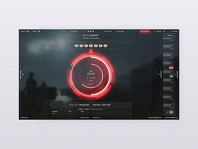 Mainpage h1z1 casino blur red 2d dark webapp web ui website ux design clean