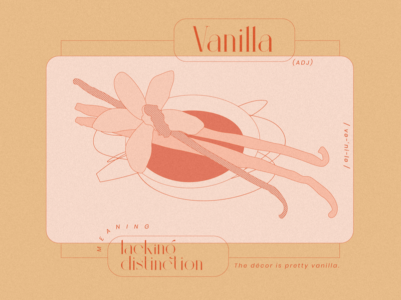 Vanilla modern graphic peach typography procreate halftone glossary adobe illustrator illustration