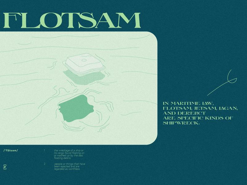 Flotsam debris seafoam modern graphic design blue typography procreate halftone glossary adobe illustrator illustration