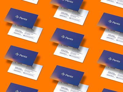 Penta business cards logotype identity brand business card stationary mockup stationary design stationary