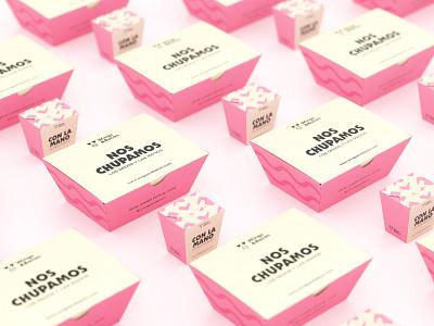 Wings&Bacon Packaging cgi logo identity package design pink pig food logotype branding packaging