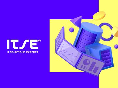 ITSE Brand identity branding agency branding concept branding design cgi custom type tech violet blue identity logotype design illustration type brand identity branding and identity logo branding
