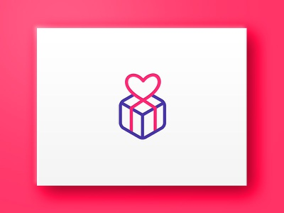 IdeasObsequios Logo brand package lines icon heart love gift logo