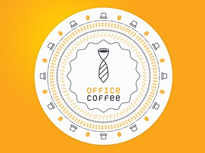 Office Coffe Logo badge tie coffee type circle branding logo