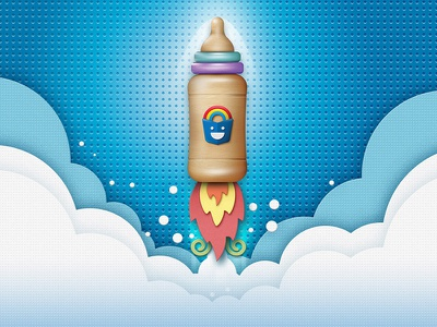 Launching poster poster launching clouds kids fire texture illustration rocket