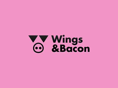 Wings&Bacon fat logo design pink black restaurant food pig futura type w wings logo logotype