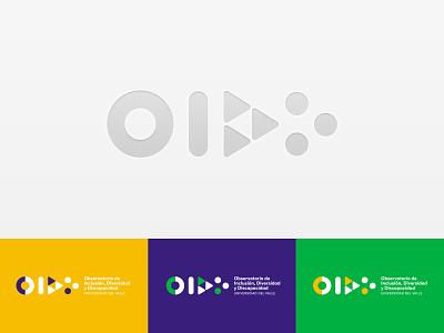 Inclusion, disability and diversity observatory triangle logo yellow green purple geometric logo circle geometric logodesign logotype idendity logo
