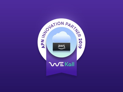 WeKall seal award illustration vector blue labels amazon telecommunication cloud seal label design label