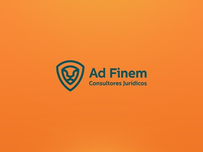 Ad Finem Law firm green orange logotype design attorney lawyer law lion logotype logo