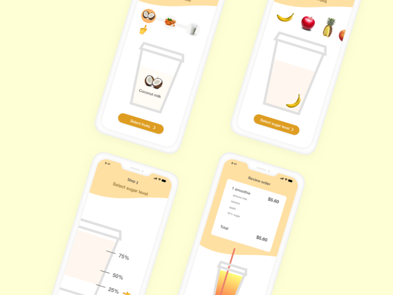 Smoothie Order xddailychallenge mobiledesign ui ux making smoothie smoothieorder