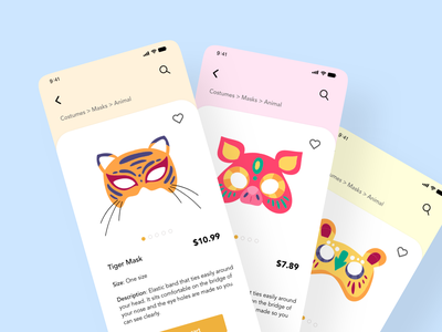 Mask Costumes ui ux design mobile mobiledesign maskcostumes xddailychallenge