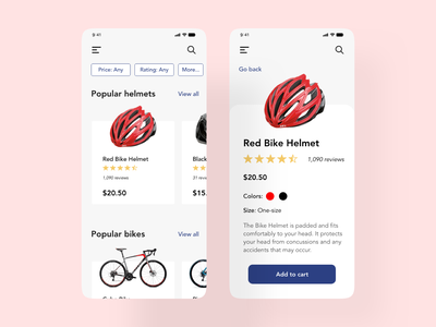 Bike E-commerce uxui mobile mobiledesign design ux ui xddailychallenge helmet ecommerce bike