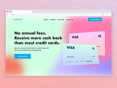 Credit Card Landing Page uxui design xddailychallenge webdesign ui ux web landing page credit card
