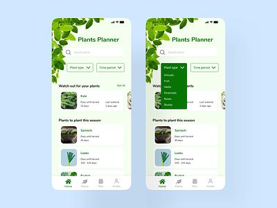 Plant Planner uxui mobiledesign design ui ux planner plant xddailychallenge