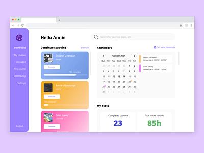 Course Dashboard web course dashboard dailyui adobexd design ui ux xddailychallenge