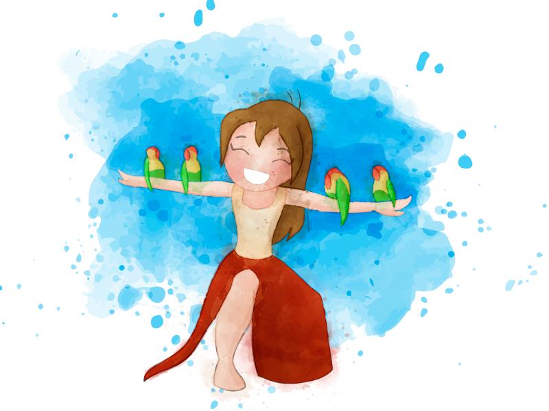 Jane color water vector illustration