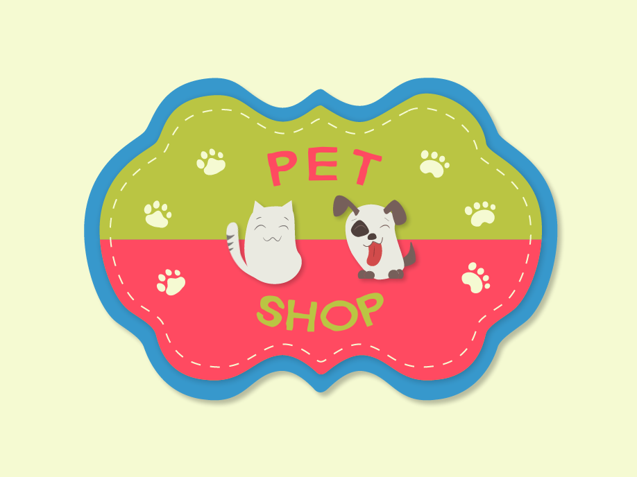 Pet Shop Label label pet shop logo animation vector illustration