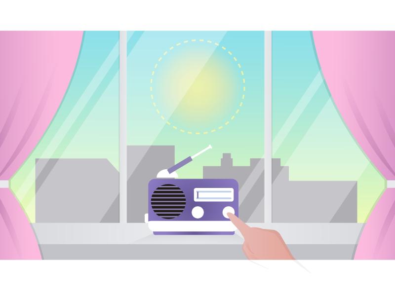 Window curtains radio window vector illustration