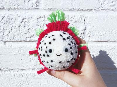Dragonfruit Pom smile dragonfruit fruit pom-pom yarn the100dayproject handmade