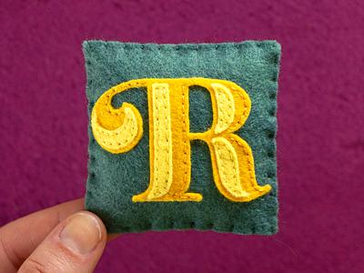 R / Reina Engraved reina typography type felt sewing handmade 36daysoftype