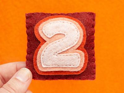 2 / Two Stroke Wide 36daysoftype alphabet number letter sewing felt handmade
