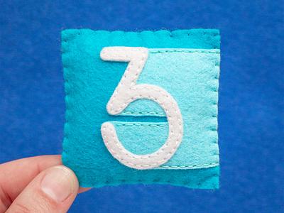 3 / Display Digits Three 36daysoftype three number letter alphabet sewing felt handmade