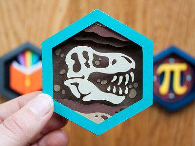 Paleontologist Paper Patch t-rex dino paleontology skeleton dinosaur handmade papercraft paper