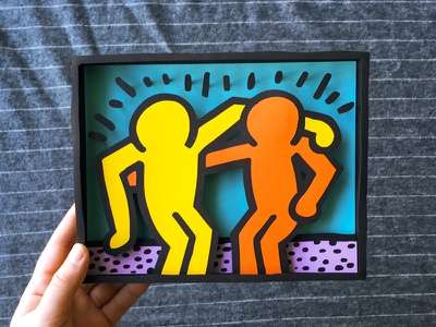 Haring Paper Box handmade papercraft paper keith haring