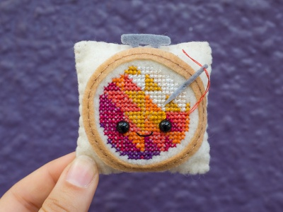 094 cross stitch embroidery hoop embroidery face sewing handmade felt the100dayproject