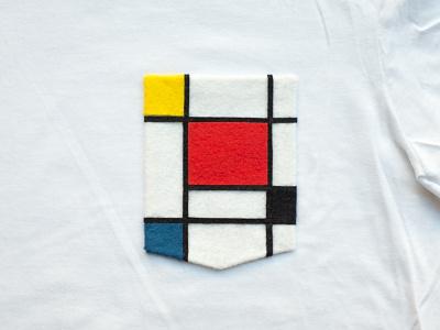 026 👕🔲  mondrian the100dayproject handmade felt pocket t-shirt