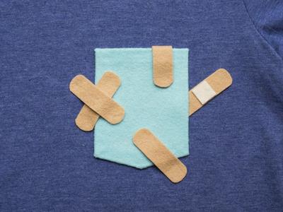 040 👕🤕 bandaid the100dayproject handmade felt pocket t-shirt