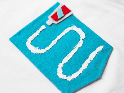 044 👕👄 toothpaste the100dayproject handmade felt pocket t-shirt