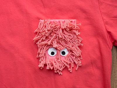 045 👕👀 fuzzy fur yarn eyes monster the100dayproject handmade felt pocket t-shirt