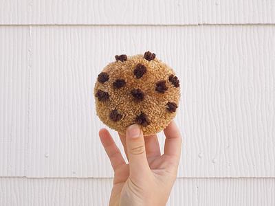 048 🍪 chocolate chip cookie the100dayproject pom-pom yarn handmade