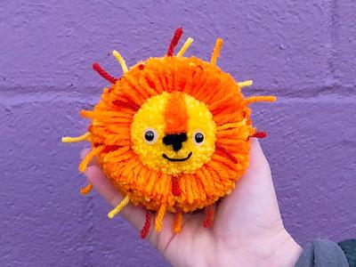 Lion Pom-Pom lion the100dayproject pom-pom yarn handmade