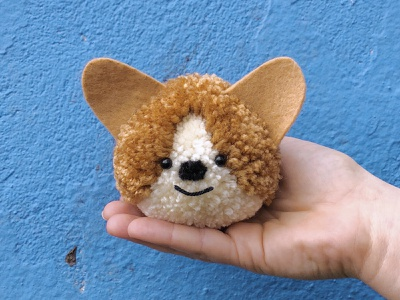 Corgi Pom-Pom corgi pom-pom yarn the100dayproject handmade