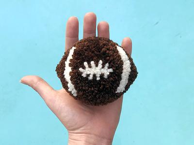 Fluff Football sports football pom-pom yarn the100dayproject handmade