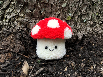 Fluffshroom sculpture mushroom pom-pom yarn the100dayproject handmade