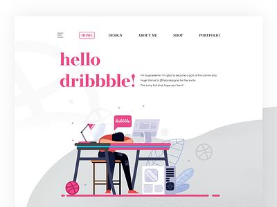 Hello Dribbble! hello dribbble interface mobile design first shot website ux web ui illustration