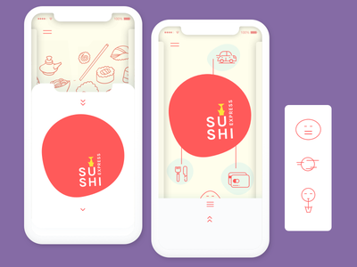 Sushi delivery application concept apps design branding concept delivery sushi