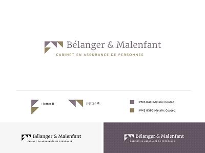 Logotype Bélanger et Malenfant cabinet design triangle logotype branding assurance logo