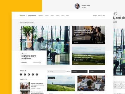 Microsoft Partner Blog Design content technology ui ux msft white black minimal clean typography blog design blog web design web tech microsoft