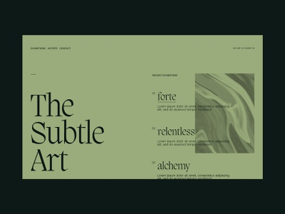 The Subtle Art website parker peterson layout exploration layout design exhibition type clean interactive digital web design ux ui art typography design layout web