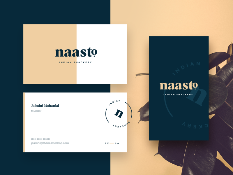 Naasto Indian Snackery identity brand typography indian food snacks the old state dallas business cards mark logo branding