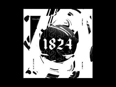 1824 Promo illustration digital art artwork follow blindly promo poster strategy experimental parker peterson portfolio web identity iowa dallas 1824 mark logo brand