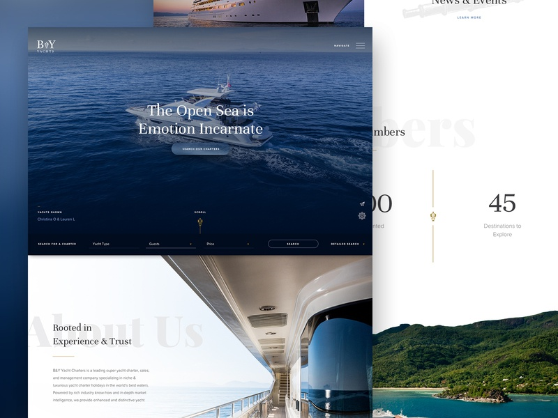 Yacht Concept simple parker peterson web design web ui typography layout minimal luxury hotel hero travel yachts clean brand
