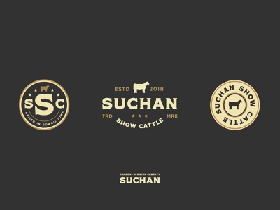 Suchan Show Cattle vector clean mark typography farm cows americana brand identity brand design parker peterson iowa show cattle cattle seal badge identity logo branding