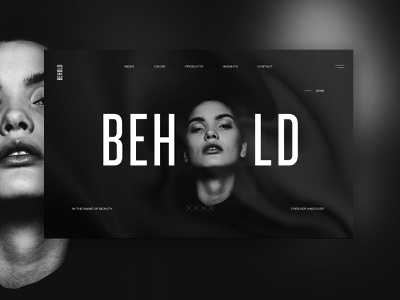 Behold dallas parker peterson black and white clean beauty fashion home page ux design ui design design ux ui layout web web design typography