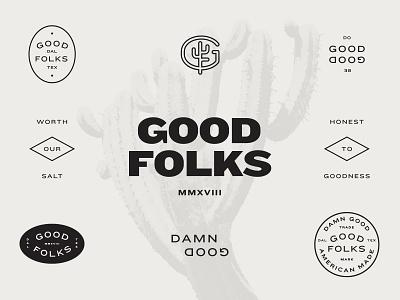 GOODFOLKS Brand Exploration goodfolks seal type ronnie johnson typography brand design visual identity identity parker peterson texas dallas design americana badge mark logo branding agency brand