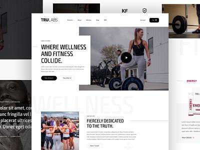 TRULABS parker peterson type sports landing website dallas supplements nutrition offset clean ux ui layout typography web design design web